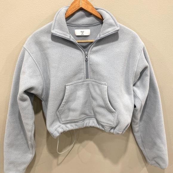 Blue fleece Aritzia/TNA lena 1/4 sweater